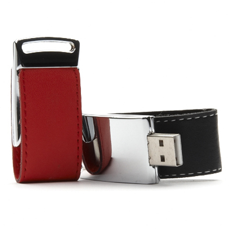 USB-Stick Leather Clap mit Gravur